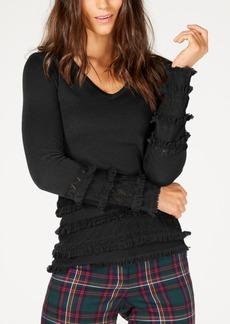 Trina Turk Merino Wool Pointelle Fringe-Trim Sweater