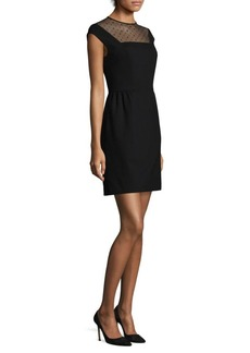 Trina Turk Mesh-Yoke Cap-Sleeve Mini Dress