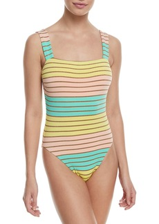 Trina Turk Metallic Stripe High-Leg Maillot One-Piece Swimsuit