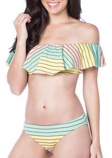 Trina Turk Metallic Stripe Ruffle Bikini Top