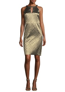 Trina Turk Metallic Zigzag Jacquard Cocktail Dress