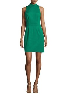 Trina Turk Mock-Neck Sleeveless Cutout Ruffle Back Dress