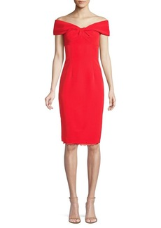Trina Turk Modernism Imperative Off-The-Shoulder Sheath Dress