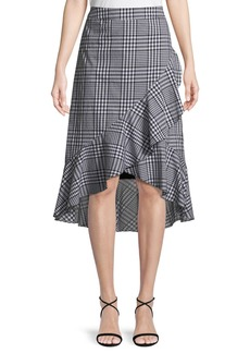 Trina Turk Nikita Picnic Plaid Wrap Ruffle Skirt