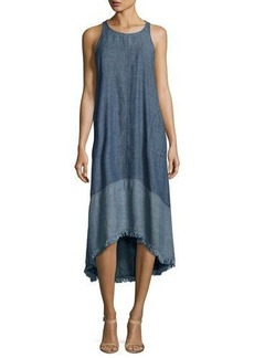 Trina Turk Phlox Sleeveless Two-Tone Chambray High-Low Midi Dress