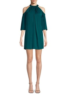 Trina Turk Pleated Cold-Shoulder Dress