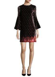 Trina Turk Printed Velvet Bell-Sleeve Dress