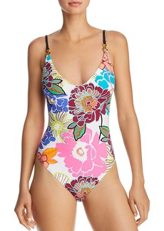 Trina Turk Radiant Blooms High Leg One Piece Swimsuit