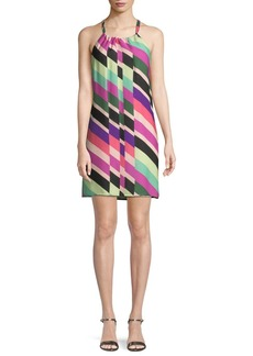 Trina Turk Rancho Wind Chimes Striped Silk Mini Dress