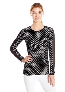 Trina Turk Recreation Women's Geo Knit Longsleeve Top with Mesh Inserts on Sleeves  L