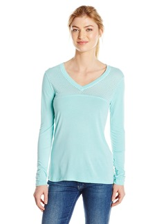 Trina Turk Recreation Women's Heathered Washy Jersey Solid Colored Long Sleeve V-Neck Shirt  M