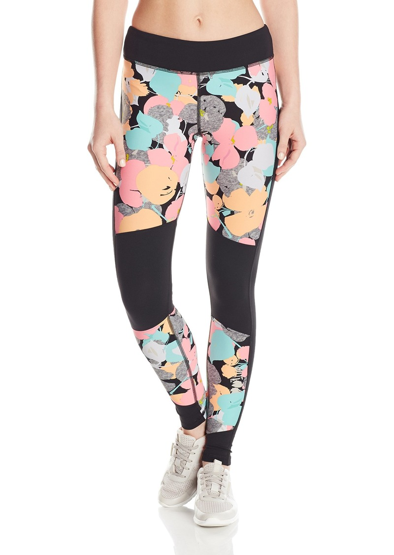 Trina Turk Recreation Women's Pop Floral Camo Full Length Legging Pant with Black Inserts  XL