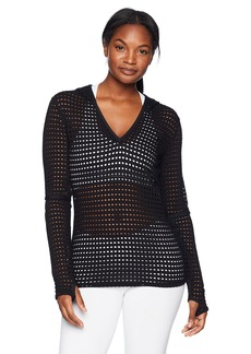 Trina Turk Recreation Women's Solid Mesh Hoodie Long Sleeve Top