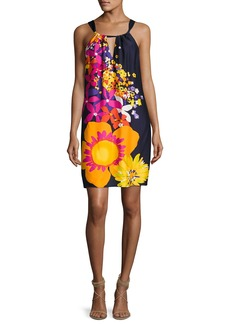 Trina Turk Roe Halter-Neck Floral-Print Shift Dress