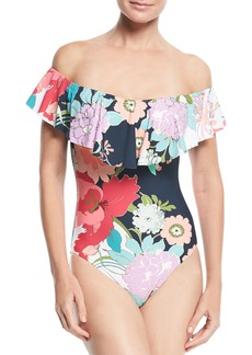 Trina Turk Royal Botanical Off-the-Shoulder Ruffle One-Piece Swimsuit