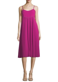 Trina Turk Scoop-Neck Pleated Midi Dress