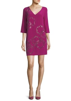 Trina Turk Silk V-Neck Embellished Shift Dress