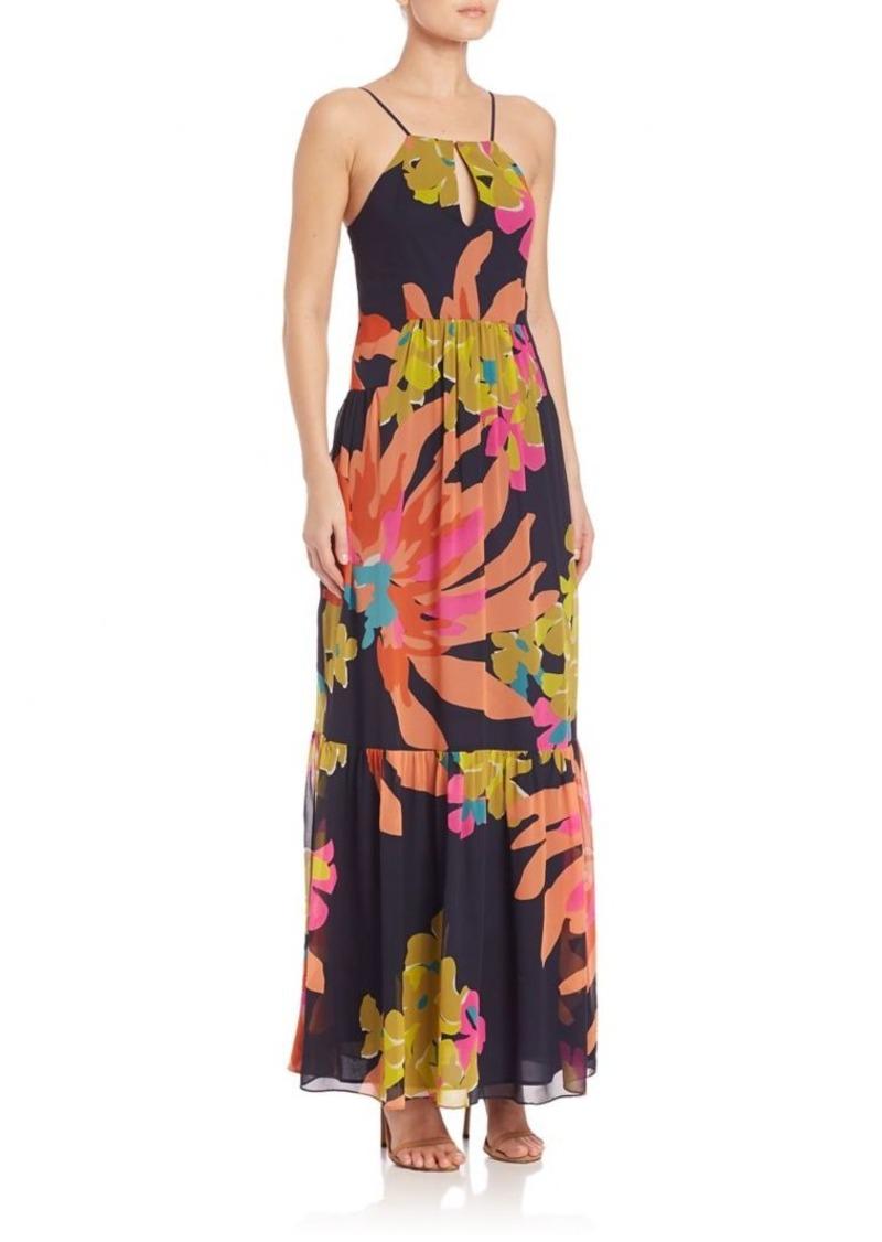 Trina Turk Sleeveless Floral Georgette Silk Gown