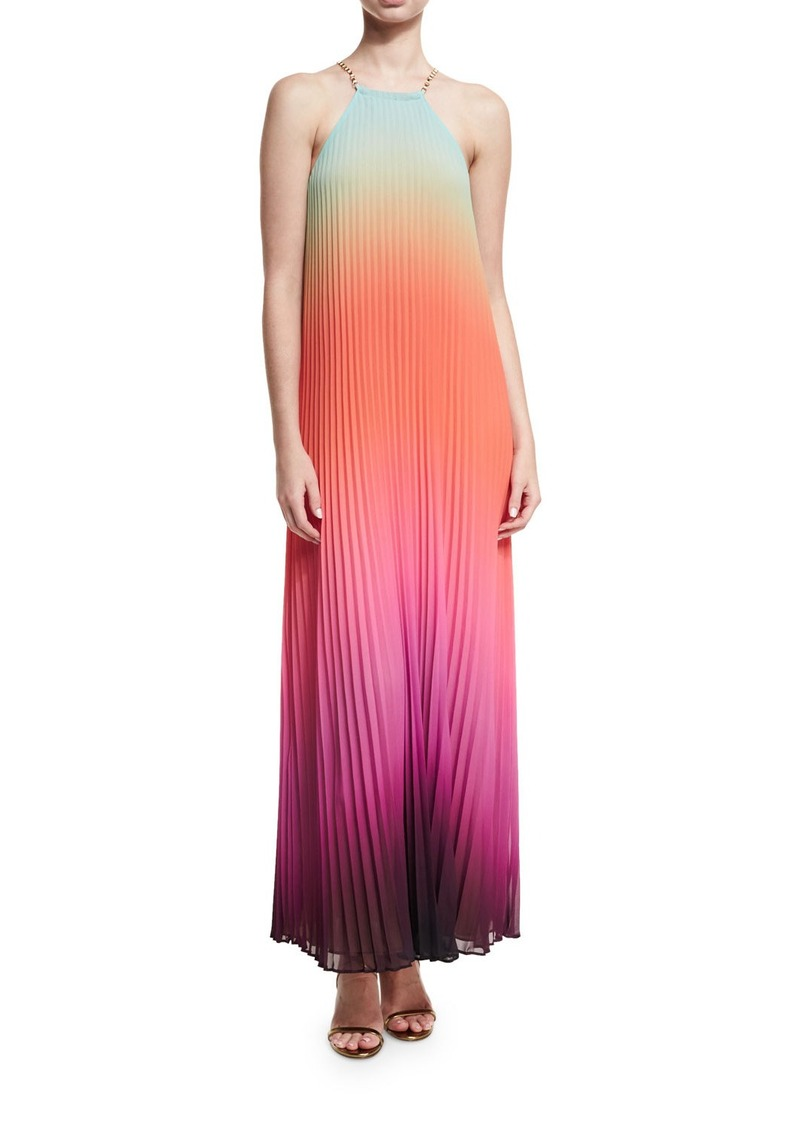 806d0251dcc Trina Turk Trina Turk Sleeveless Halter Sunset Ombre Pleated Maxi ...