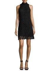 Trina Turk Sleeveless Mock-Neck Floral Lace Shift Dress