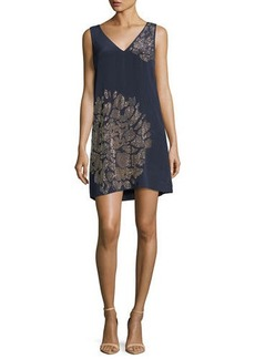 Trina Turk Sleeveless V-Neck Beaded Floral Embellished Silk Dress