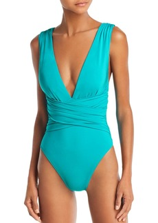 Trina Turk Solid Wrap Front One Piece Swimsuit