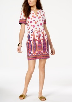 Trina Turk Split-Neck Scarf-Print Dress