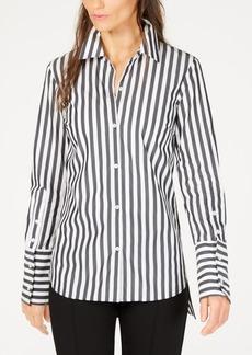 Trina Turk Striped High-Low Button-Down Shirt