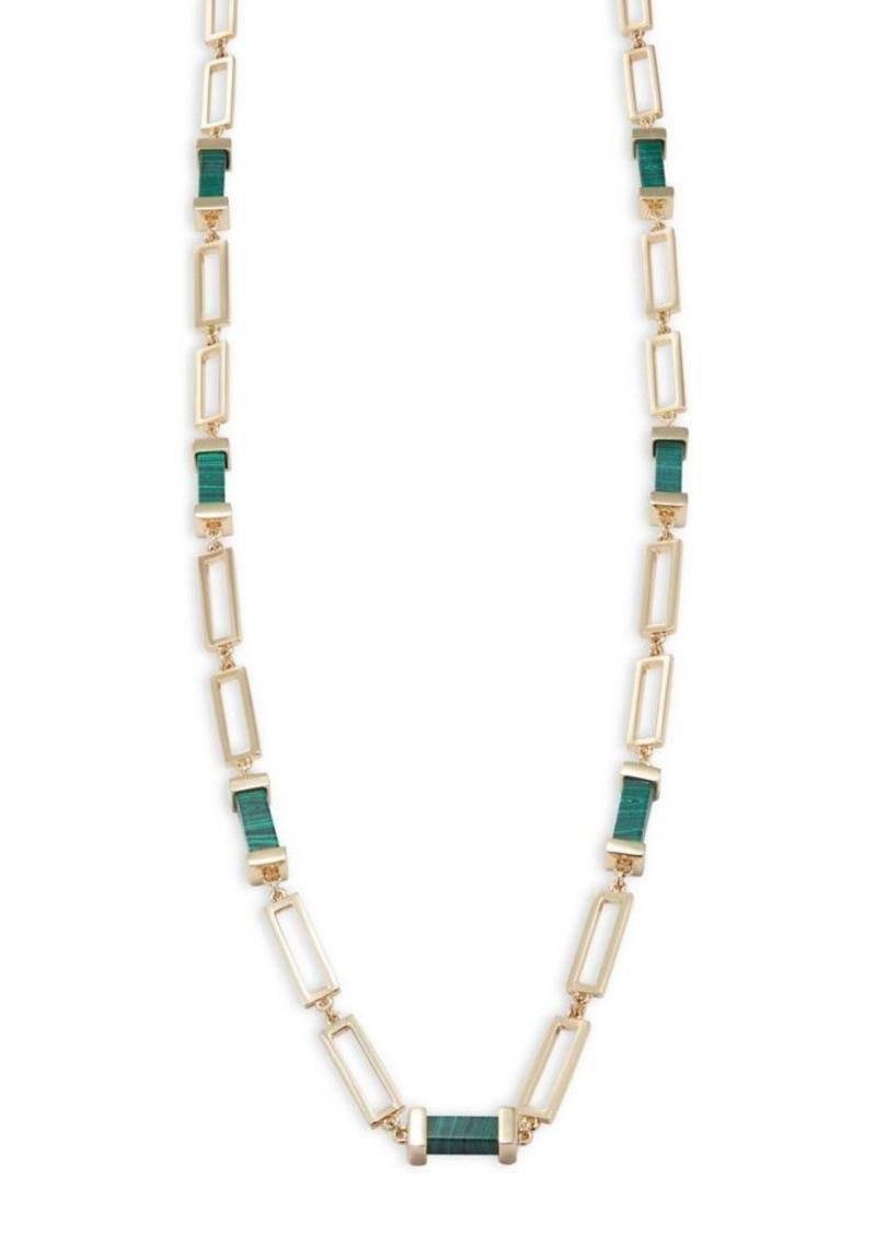 Trina Turk Long Necklace w/ Green Malachite MbtTQ3aroh