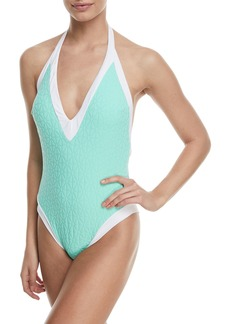 Trina Turk Sunshine Jacquard V-Plunge One-Piece Swimsuit