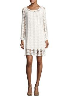 Trina Turk Sur Long-Sleeve Cotton Crochet Mini Dress