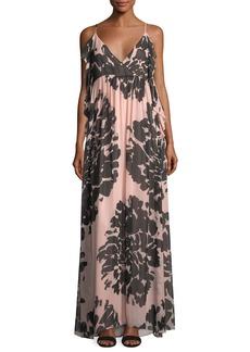 Trina Turk Surplice Sleeveless Floral-Printed Silk Chiffon Maxi Dress