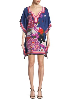 Trina Turk Theodora Greenhouse Floral Silk Kaftan Dress