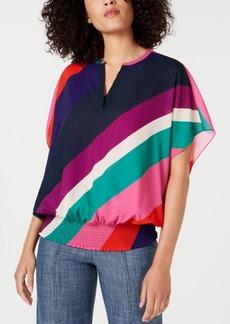 Trina Turk Unforgettable Striped Banded-Hem Top