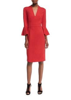 Trina Turk V-Neck Ponte Bell-Sleeve Dress