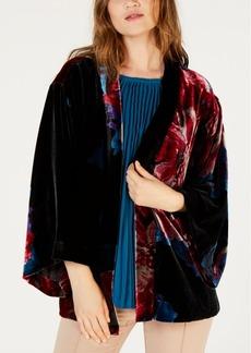 Trina Turk Velour Printed Poncho Jacket