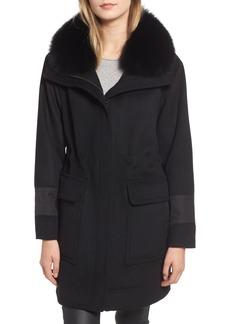 Trina Turk Whitney Genuine Fox Fur Trim Coat