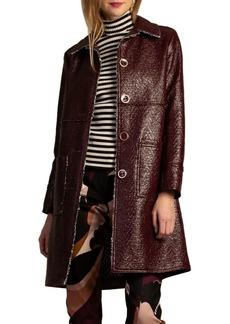 Trina Turk Wine Country Les Mars Chevron Tweed Coat