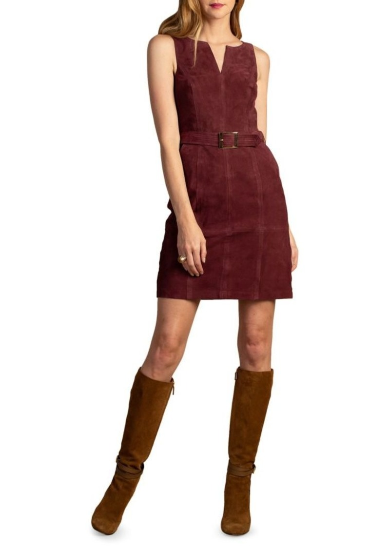Trina Turk Wine Country Sultana Belted Suede Mini Dress
