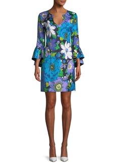 Trina Turk Winnie Wild Flower Faille Bell-Sleeve Dress