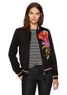 Trina Turk Women's Adriano Dahlia Dell Placed Print Bomber Jacket  L