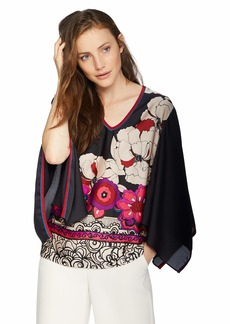 Trina Turk Women's Agate V Neck Blouse Coqui Floral Extra Small