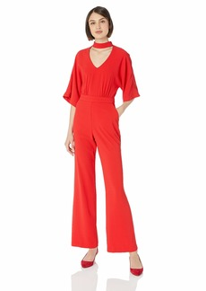 Trina Turk Women's Ambient Choker Neck Jumpsuit Lacquer red