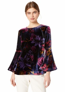 Trina Turk Women's Astral Crew Neck Bell Sleeve Velvet Top Grand Garden Drapery