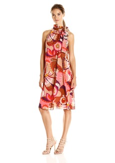 Trina Turk Women's Becoming Bouvier Botanical Stretch Silk Georgette Tie Neck Dress