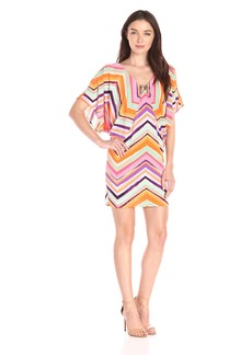 Trina Turk Women's Bellemore Piazza Zig Zag Matte Jersey Cold Shoulder Dress