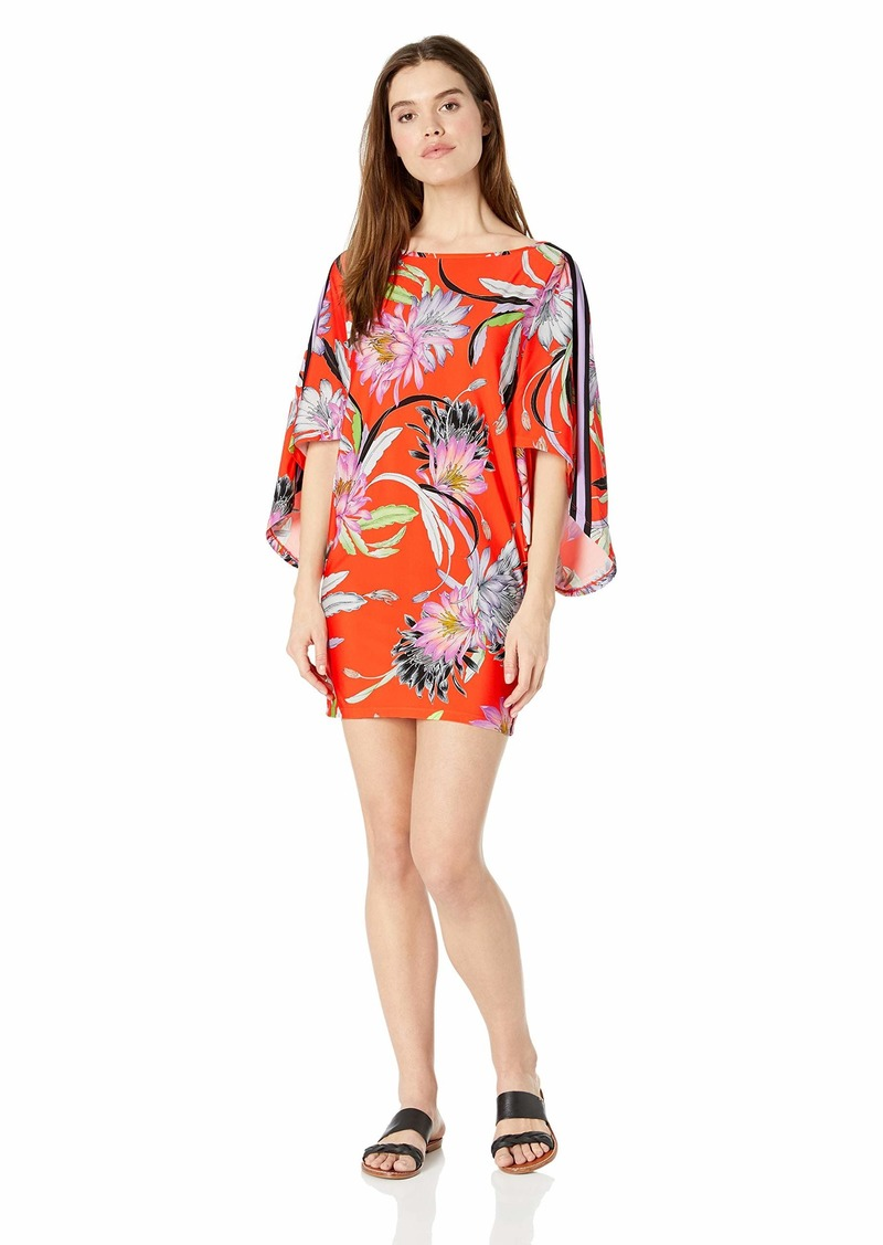 Trina Turk Women's Boat Neck Kimono Sleeve Swimwear Cover Up Flame//Shangri la Floral
