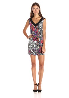 Trina Turk Women's Charline Carnaval Floral Matte Jersey V Neck Dress