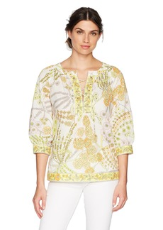 Trina Turk Women's Chirp Crescent Drive Print Lace Up Blouse  M