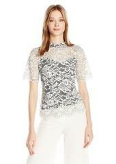 Trina Turk Women's Damita Sakura Blossom Lace Short Sleeve Top  M